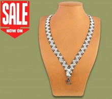 ON SALE Beaded Lanyard Zigzag White Black