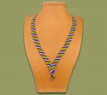Beaded Lanyards African Thin Stripe