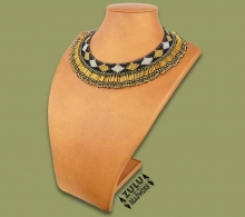 Beaded Thandi Necklace Black Silver Gold