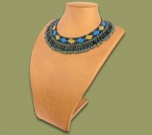 Beaded Thandi Necklace Blue Gold Black