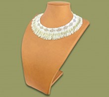 Beaded Thandi Necklace Silver White