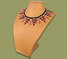 Beaded Necklace Zulu Spear Red Silver Black Stripe