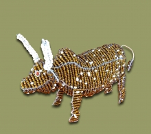 African Beaded Nguni Cow Small