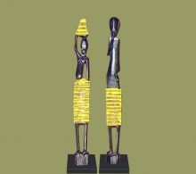 African Beaded Statues Yellow Small