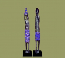 African Beaded Statues Dark Blue Small