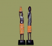 African Beaded Statues Orange Small