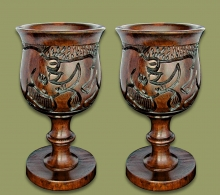 Wine Goblets Ebony Wood