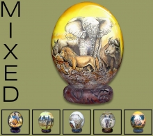 Ostrich Eggs Mixed Decoupage