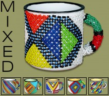Beaded Tin Mugs Small Mixed