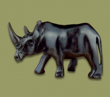 Rhino Ebony Wood Carving
