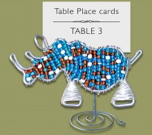 Beaded Mixed Rhino Table Place Card Holder