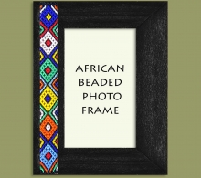 Beaded Photo Frame Black Zulu Colors x 1