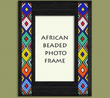 Beaded Photo Frame Black Zulu Colors x 2