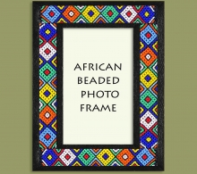 Beaded Photo Frame Black Zulu Colors x 4