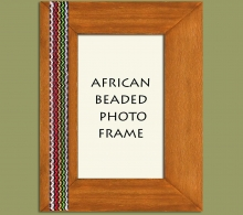 Beaded Photo Frame Brown Stripe x 1