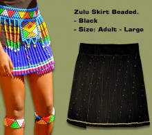 Beaded Zulu Skirt Black Adult Large