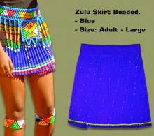 Beaded Zulu Skirt Adult Blue Large
