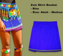 Beaded Zulu Skirt Adult Blue Medium
