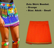 Beaded Zulu Skirt Orange Adult Small