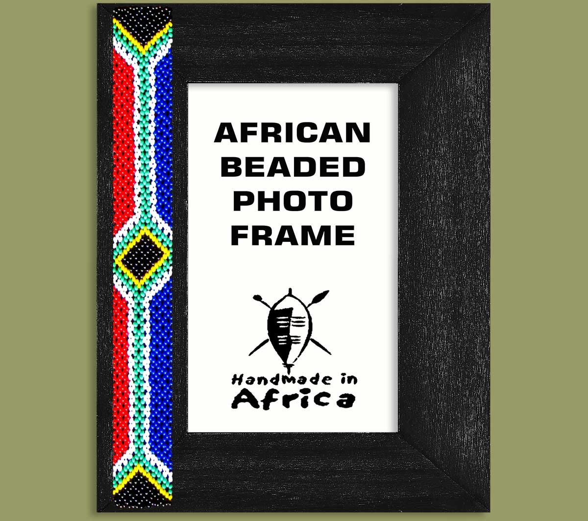 SA Flag Beaded Photo Frame x 1 Side