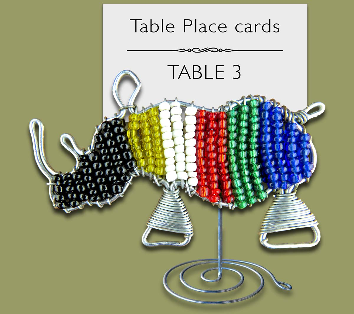 Beaded SA Flag Rhino Table Place Card Holder