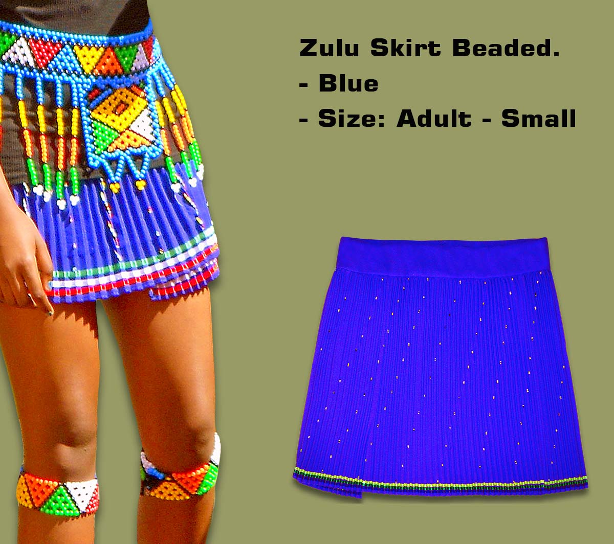 Beaded Zulu Skirt Adult Blue Small