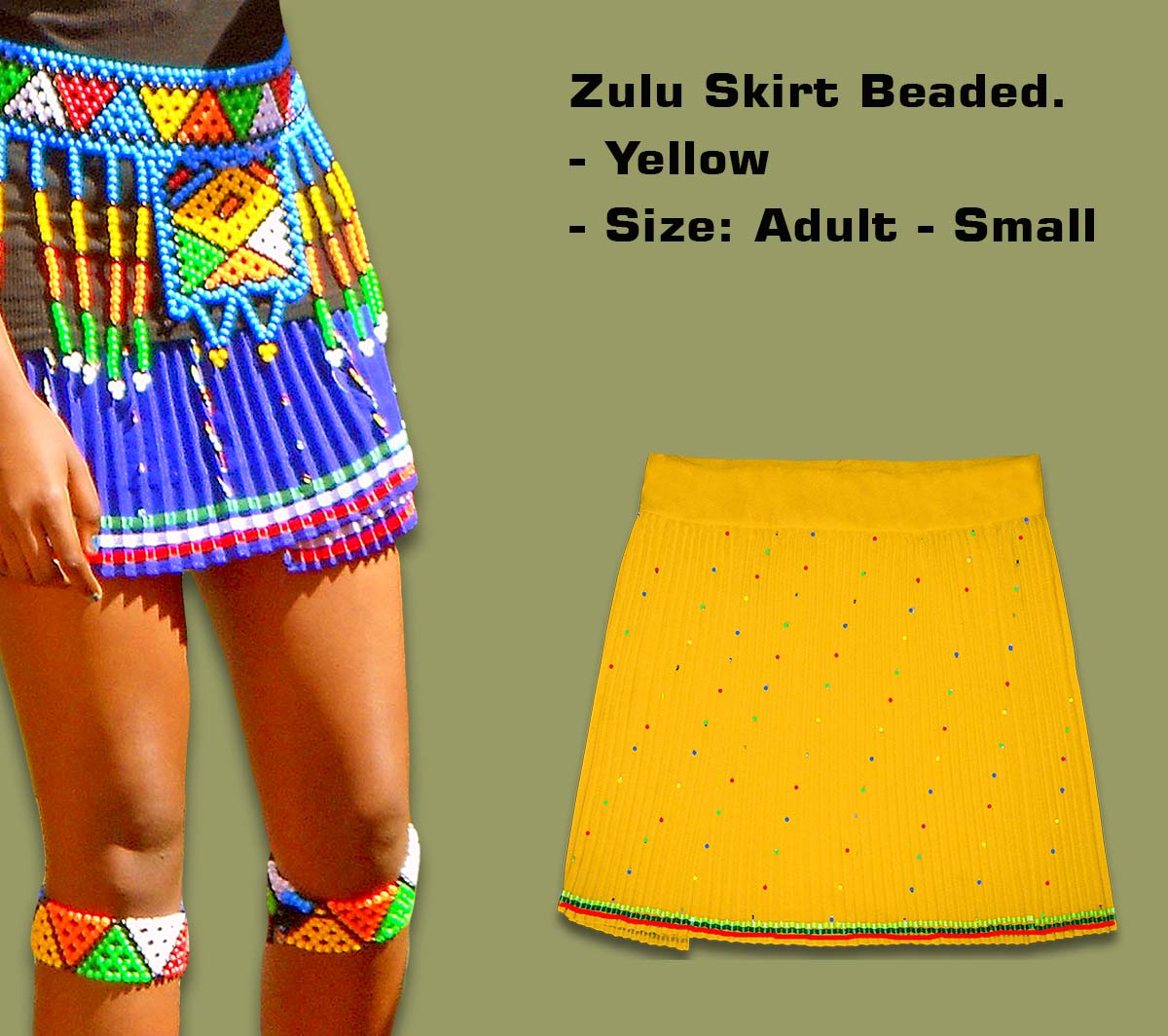 Beaded Zulu Skirt Adult Yellow Small