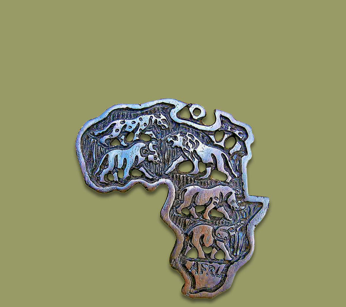 Africa Map Ebony Wood Small