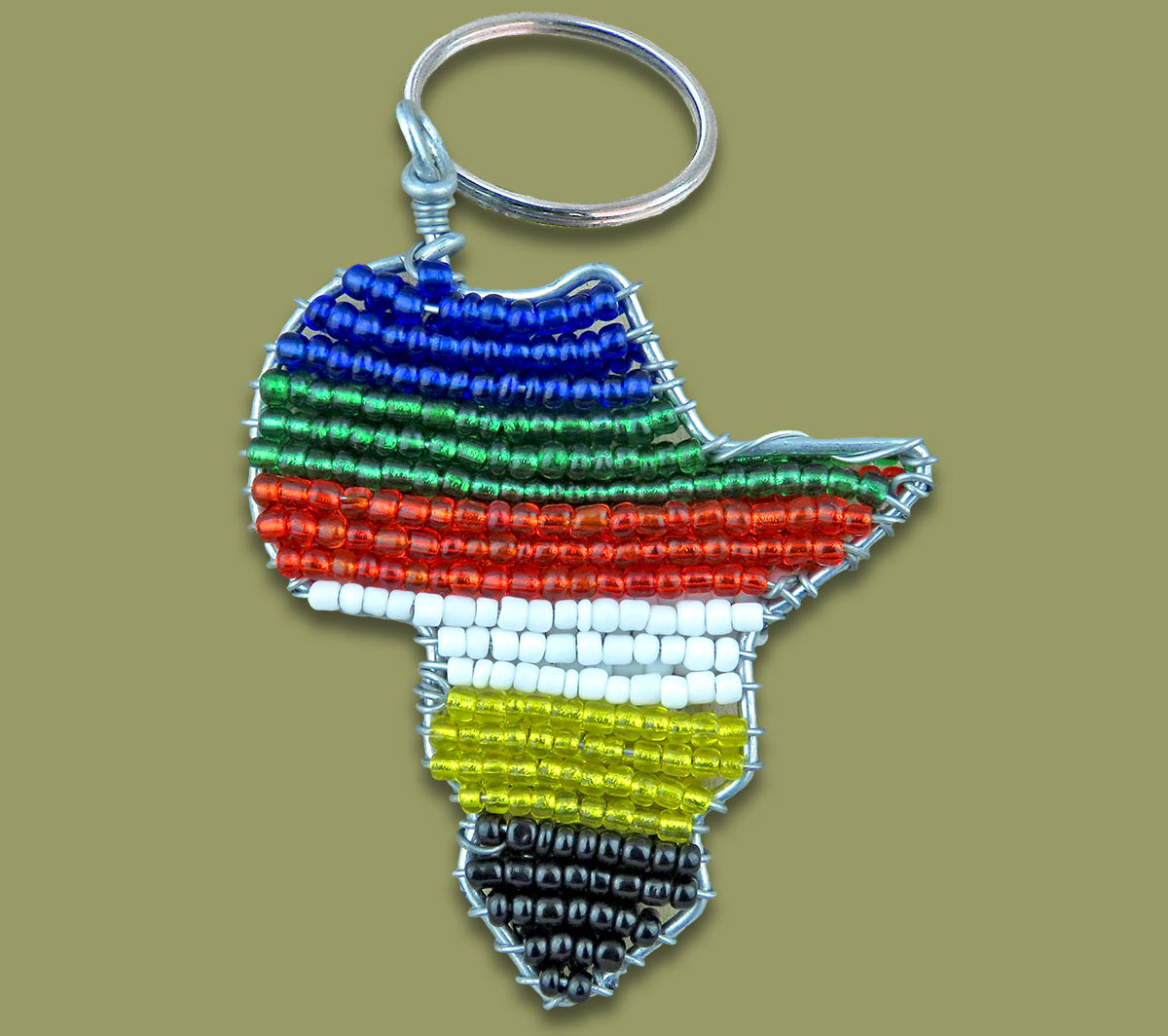 Africa Map Beaded Keyring SA Flag
