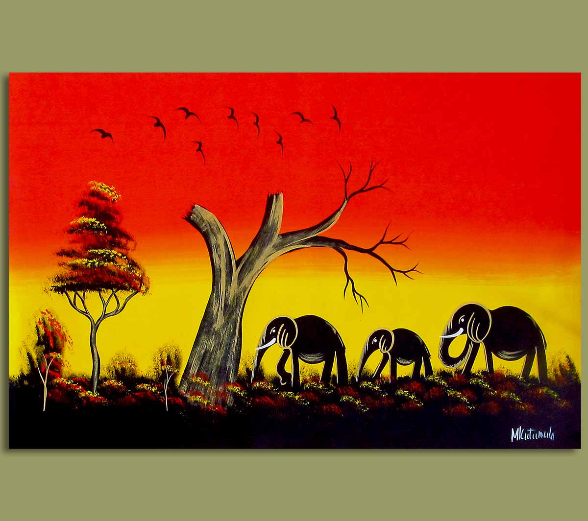 African Art African Art Elephant Sunset