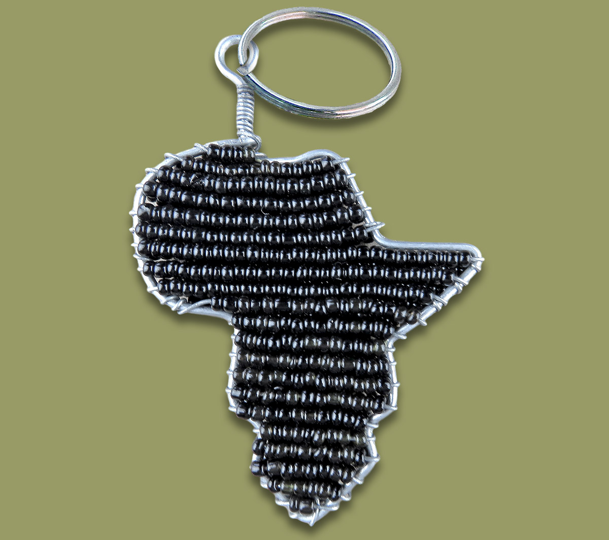 African Beaded Keyring Africa map