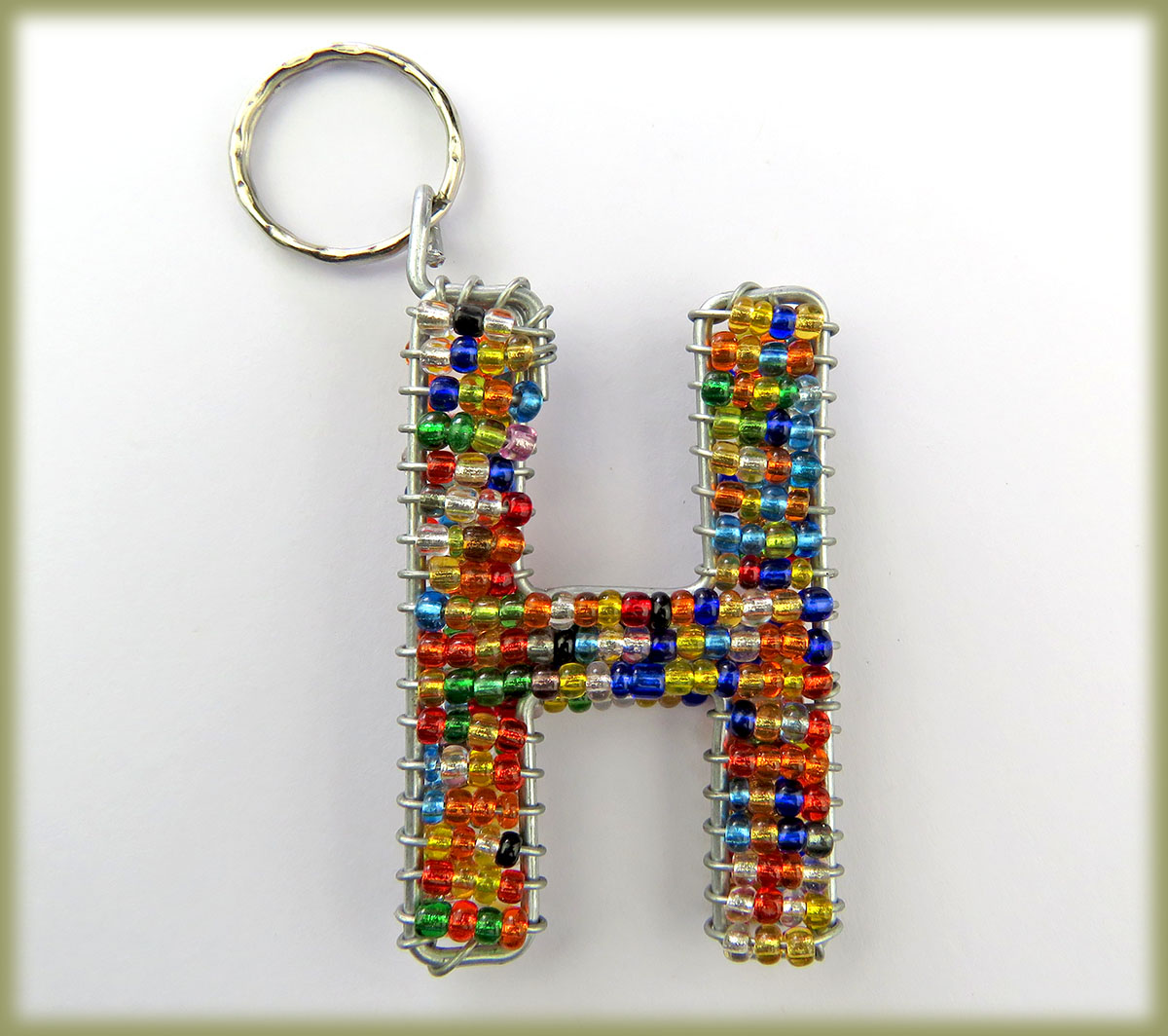 Beaded Key Ring Alphabet Letter H