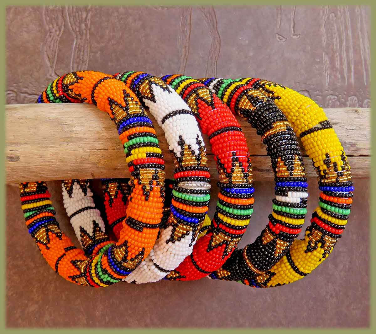 African Beaded Bangle Thick Rope Style MIXED