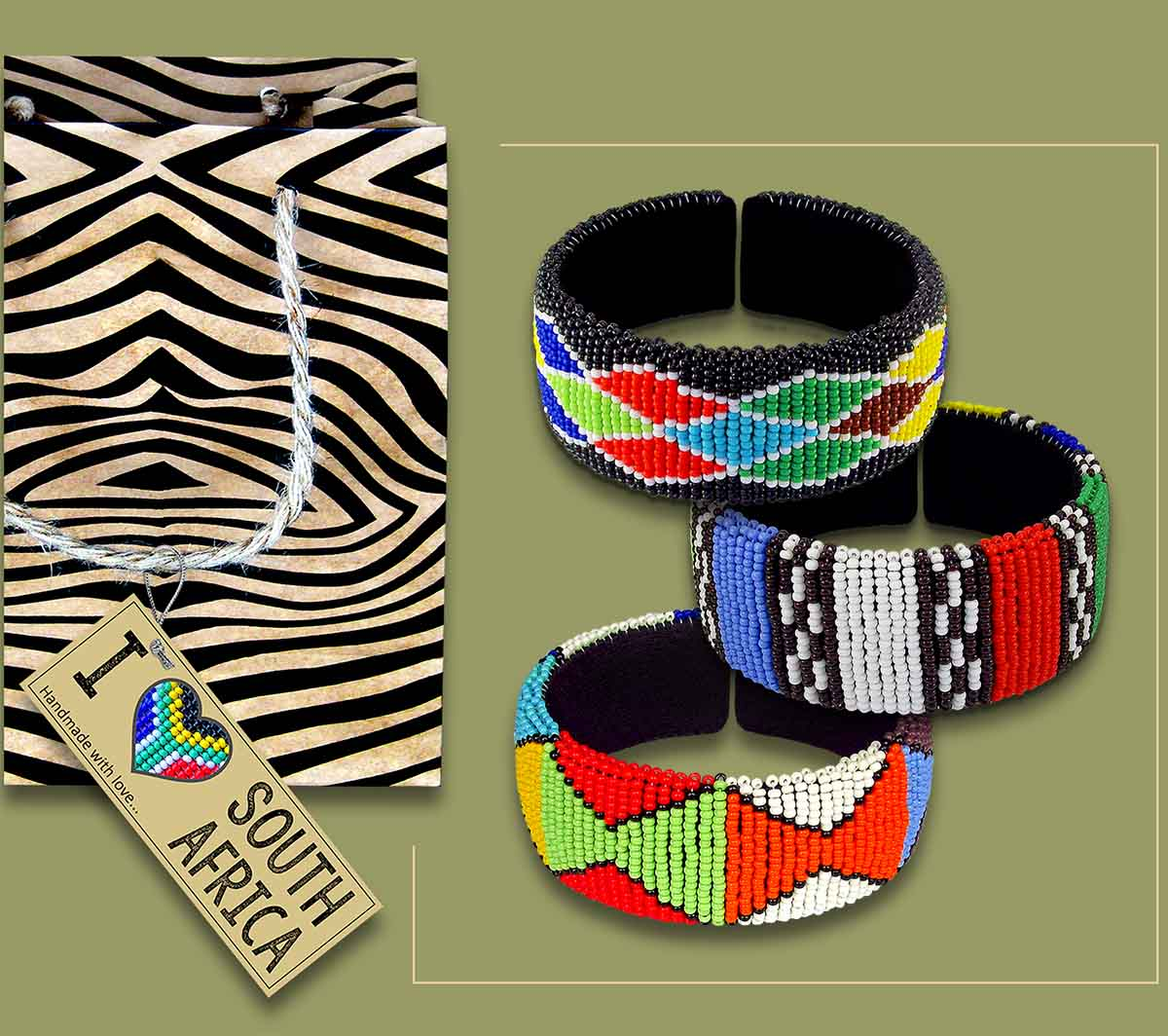 African Beaded Bangles Zulu Colours