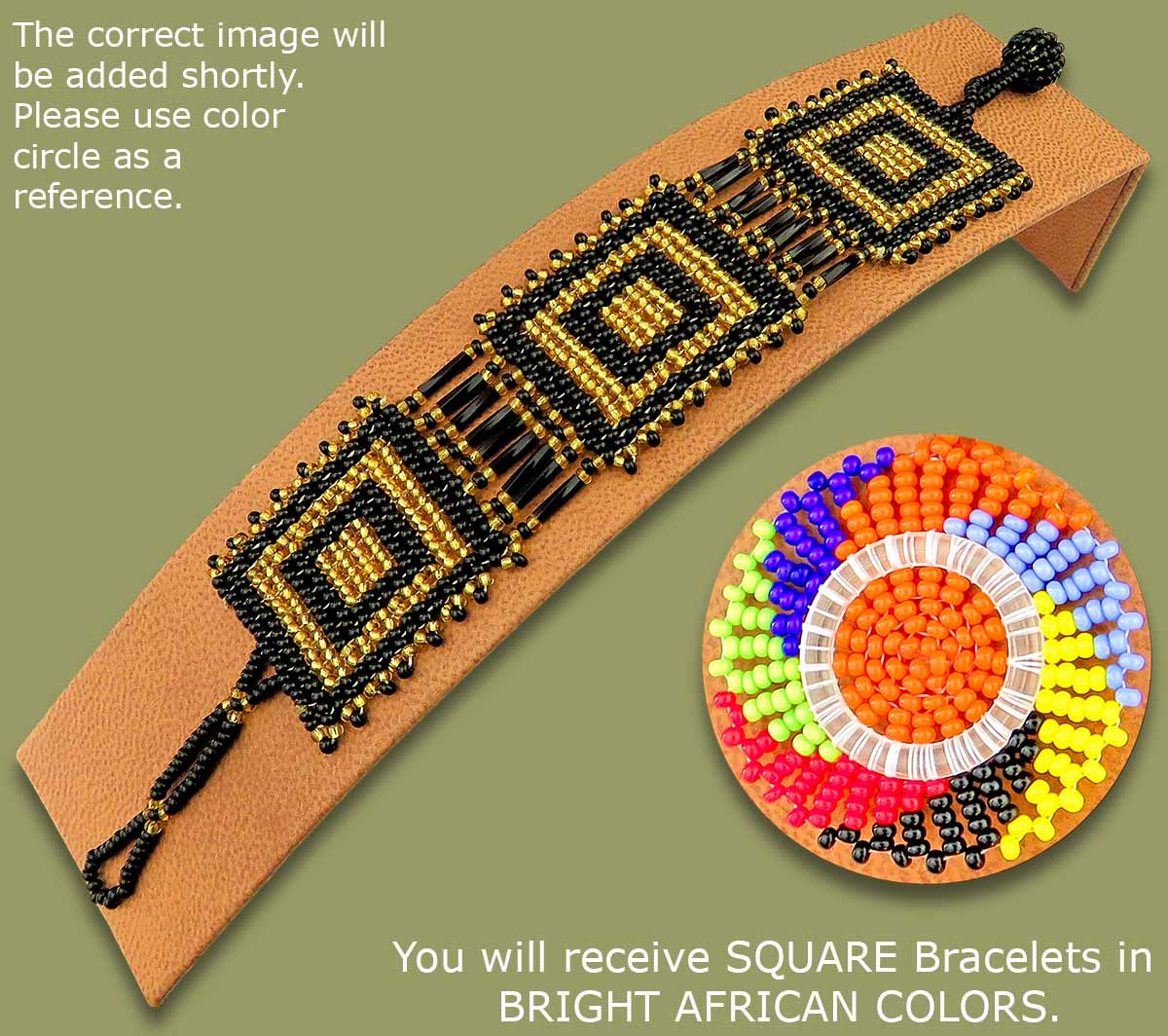 Beaded Bracelets Square Bright African Colours