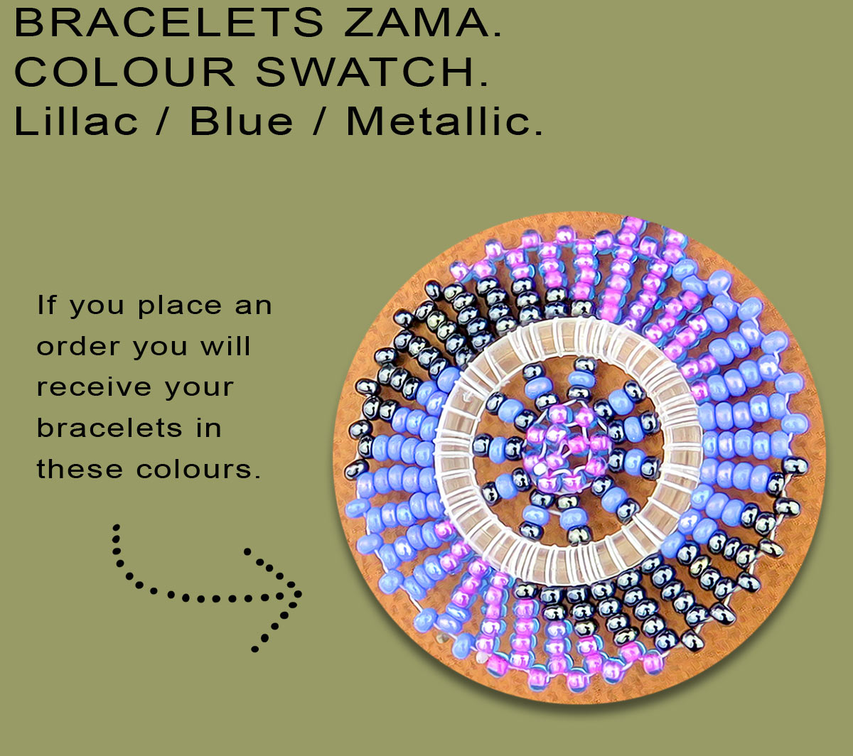 African Beaded Bracelets Zama Lillac Blue Metallic