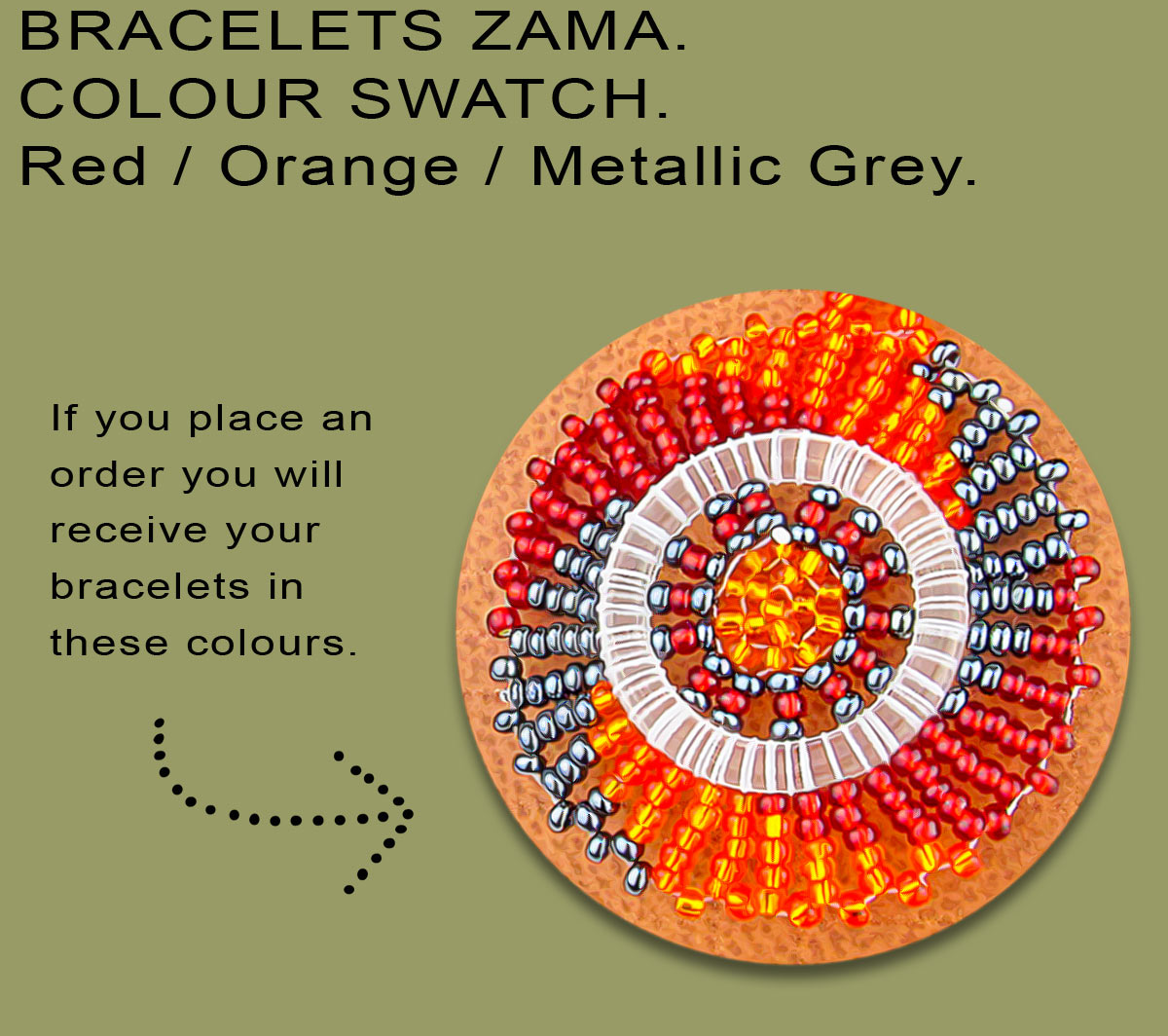 African Beaded Bracelets Zama Red Orange Metallic