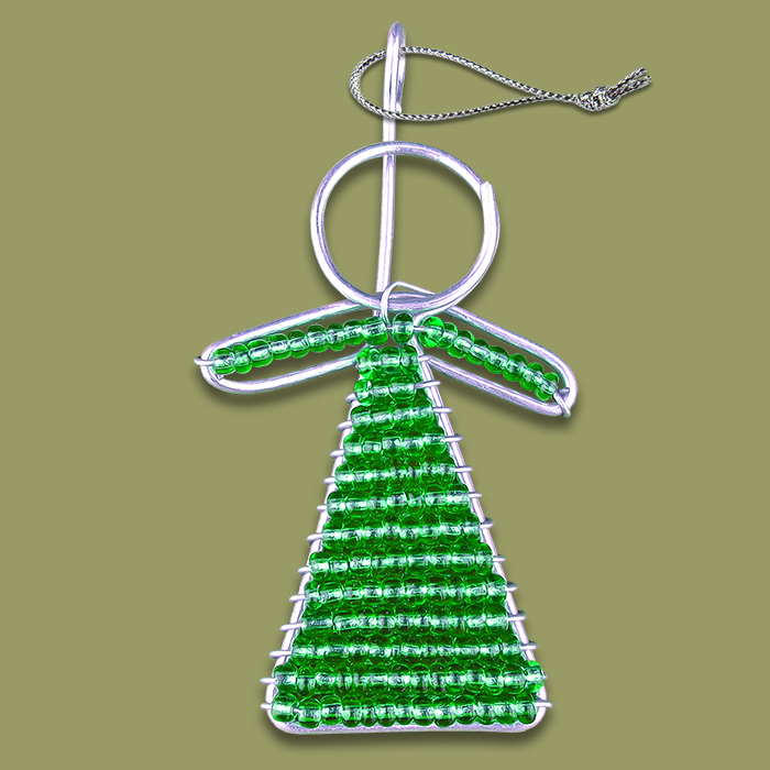 African Beaded Christmas Angel Green
