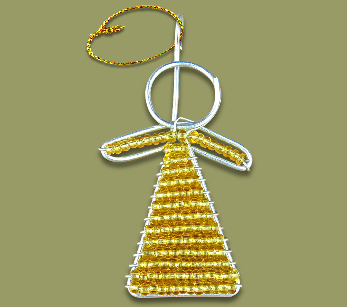 african beaded christmas angel gold - African Christmas Decorations