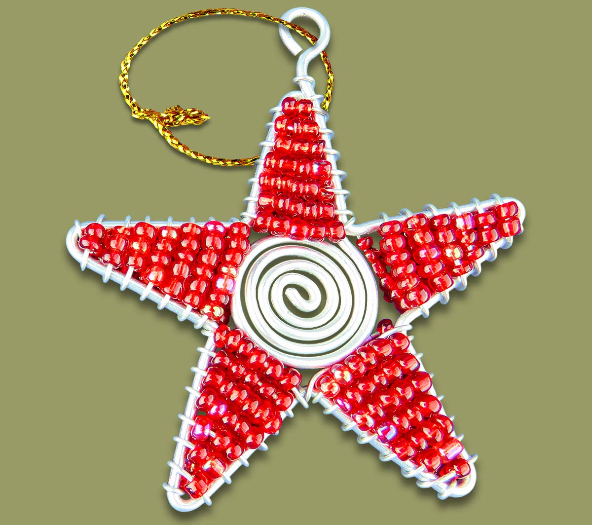 African Beaded Christmas Star Red