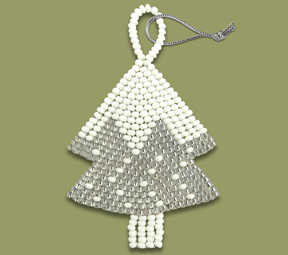 African Beaded Christmas Tree Silver White