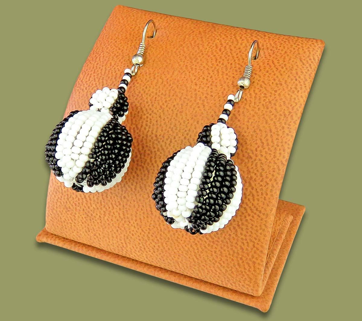 Bobble Earrings Black White