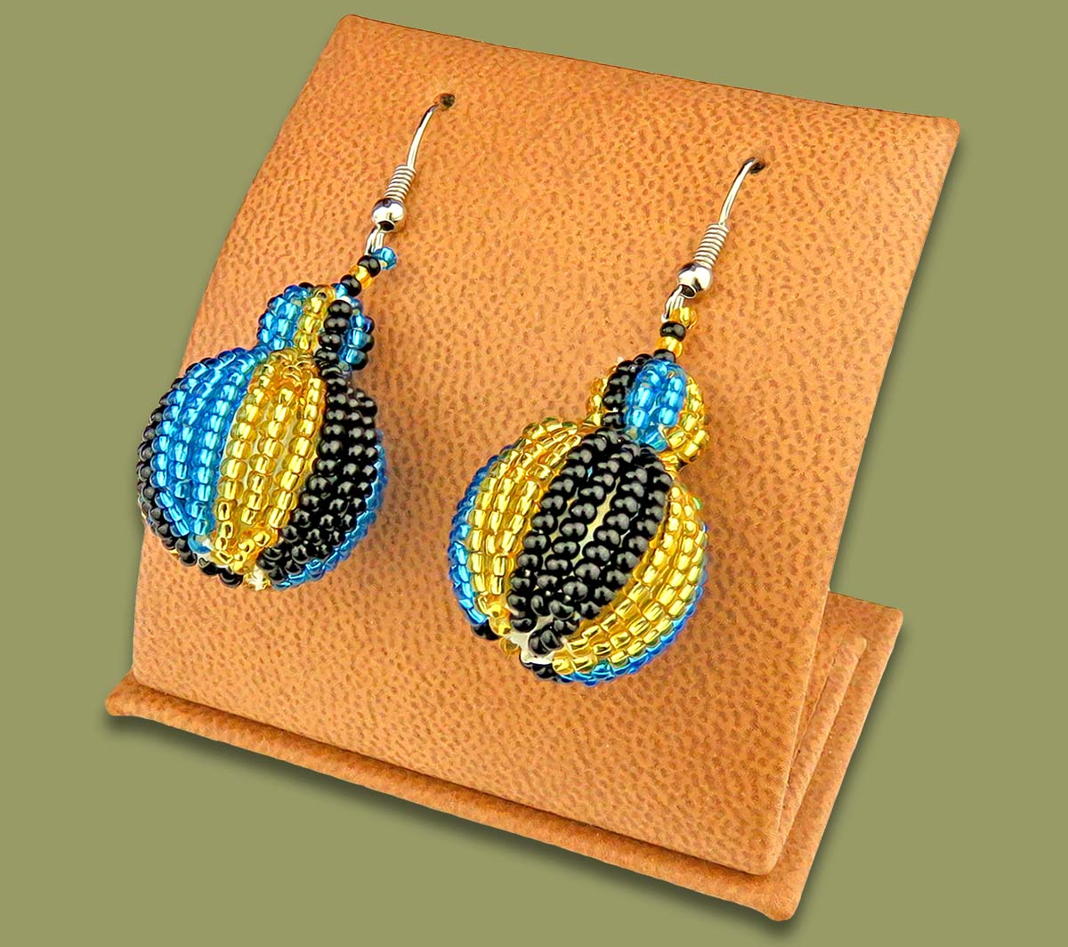 Bobble Earrings Blue Gold Black