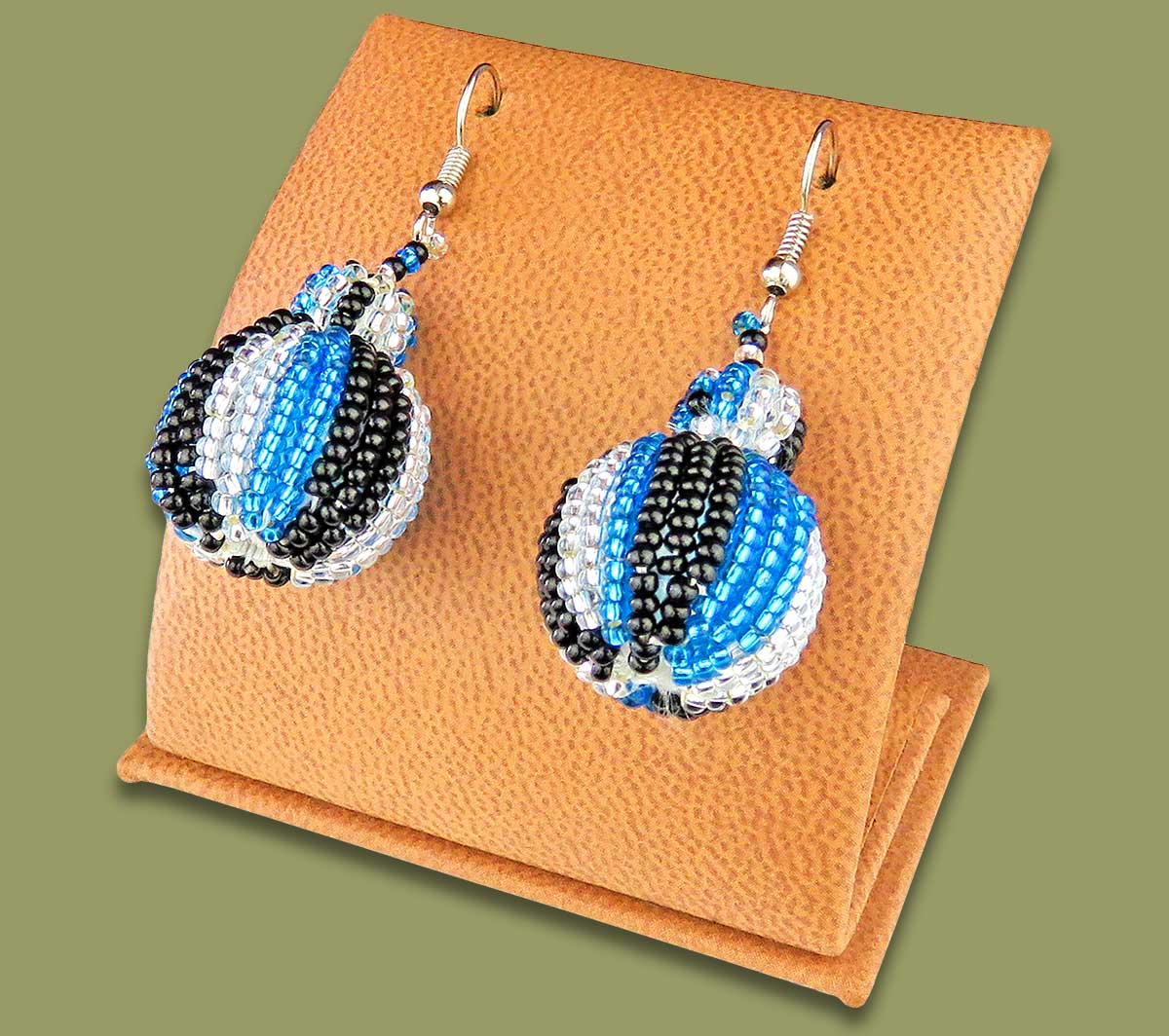 Bobble Earrings Blue Silver Black