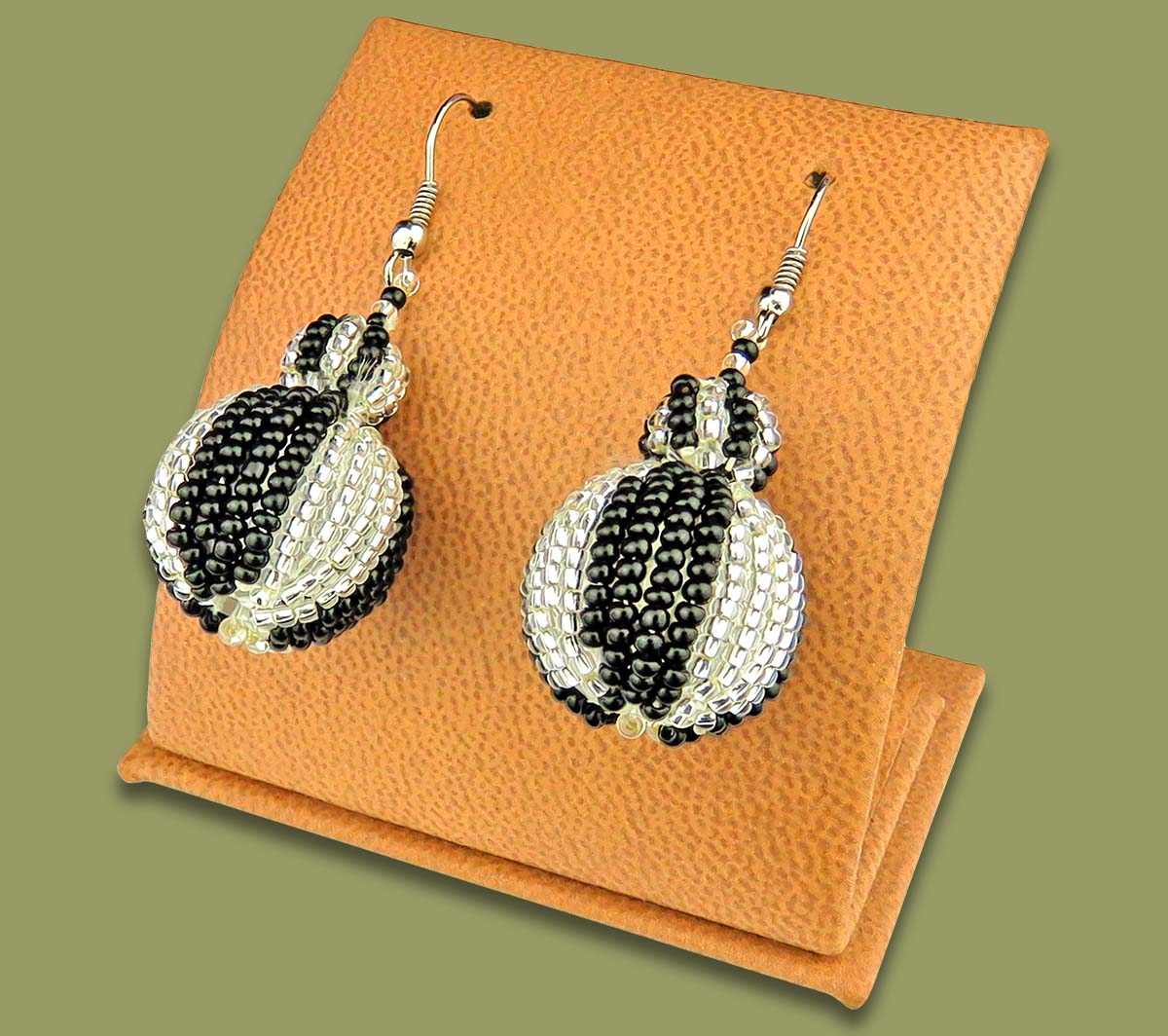 Bobble Earrings Silver Black