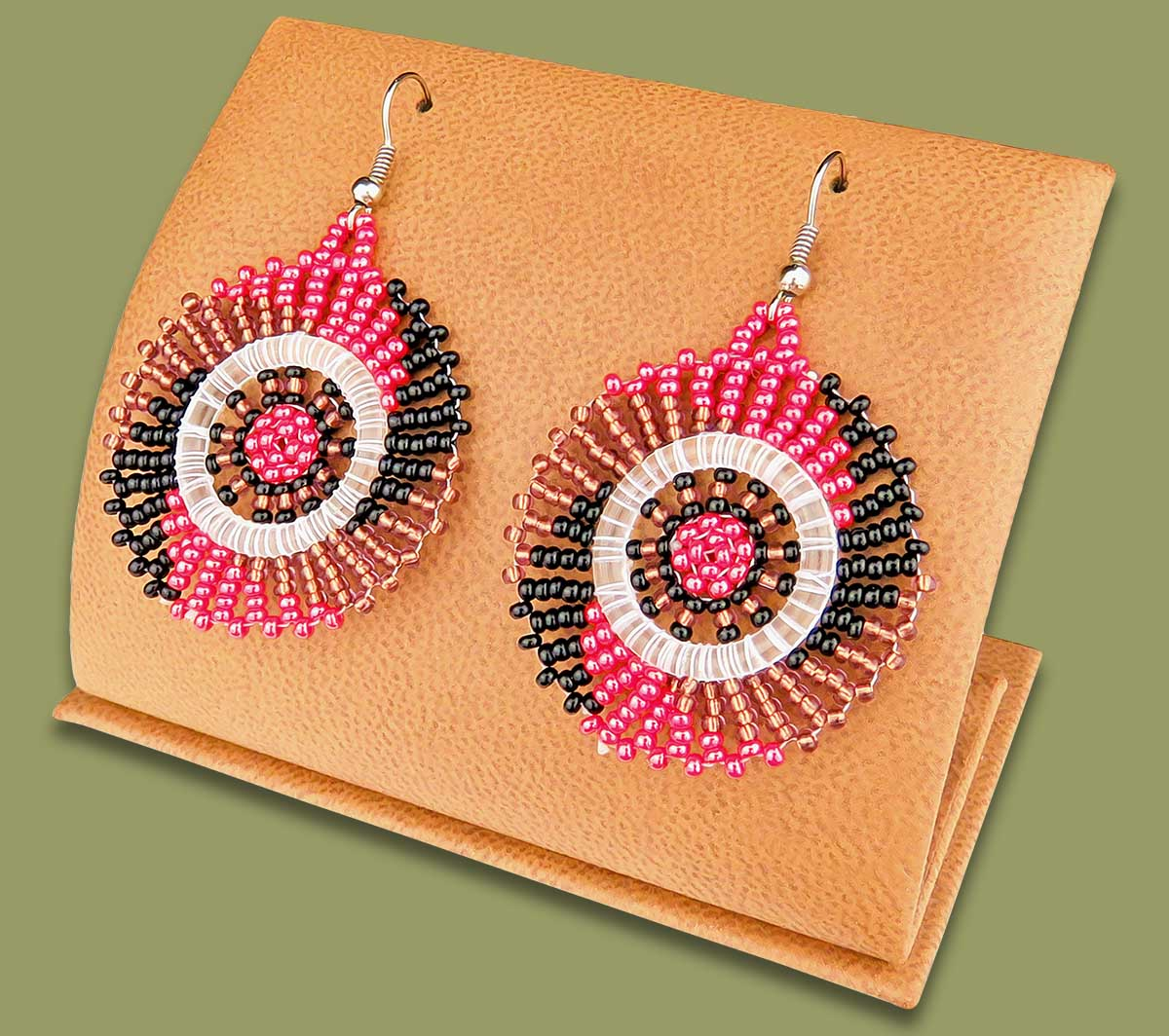 Small Circle Earrings Pink Copper Black