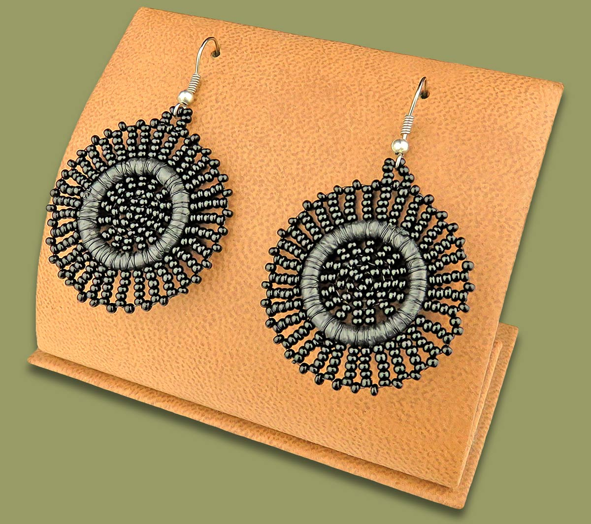 Small Circle Earrings Black