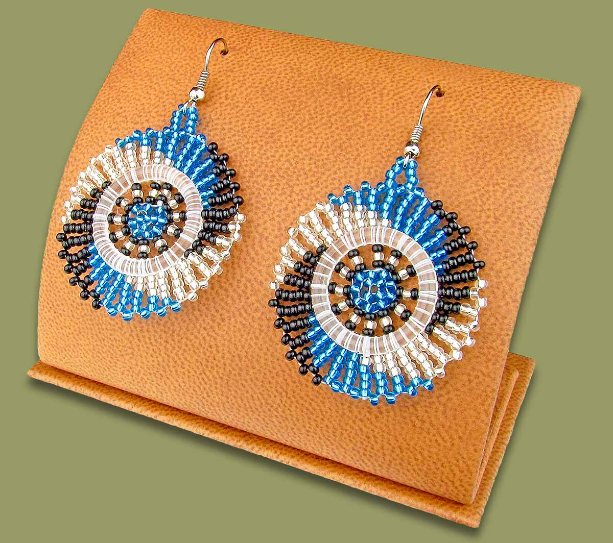 Small Circle Earrings Blue Black Silver