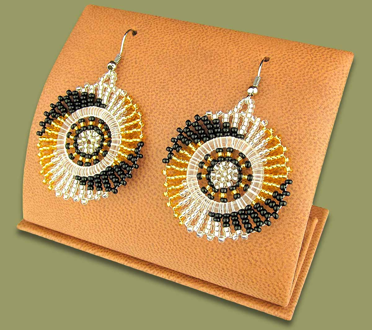 Small Circle Earrings Gold Silver Black