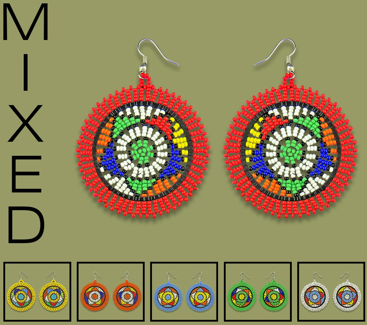 African Beaded Earrings Large Circle Mixed